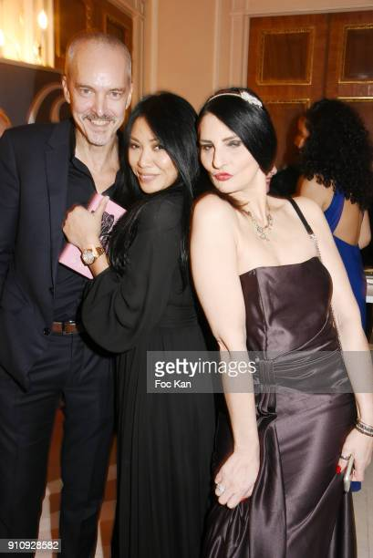 "Christian Kretschmar, Anggun and Sylvie Ortega Munos attend the ""The Couture Ball"" Le Jean Paul Benielli Show Party at Le Mona Bismarck on January..."