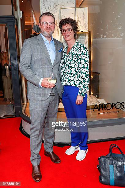 Christian Krug and Ina Krug attend the Apropos Menswear Store Opening in Hamburg on July 14 2016 in Hamburg Germany
