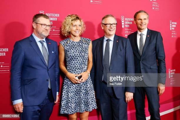 Christian Krug Annika Zimmermann Georg Fahrenschon and Oliver Blume attends the Deutscher Gruenderpreis on June 20 2017 in Berlin Germany