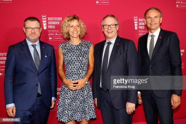 Christian Krug Annika Zimmermann Georg Fahrenschon and Oliver Blume attend the Deutscher Gruenderpreis on June 20 2017 in Berlin Germany