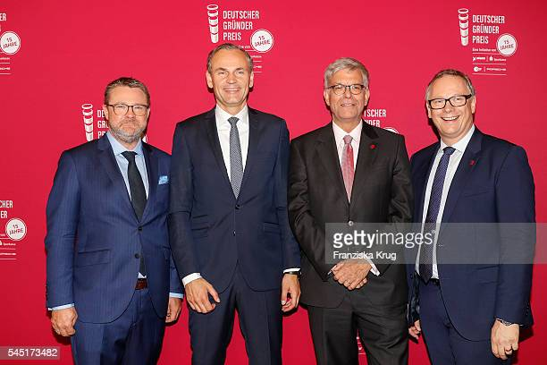 Christian Krug Oliver Blume Thomas Bellut and Georg Fahrenschon attend the Deutscher Gruenderpreis on July 5 2016 in Berlin Germany