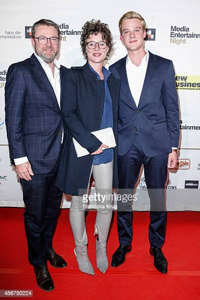 Christian Krug with his wife Ina Krug and his son attend the Media Entertainment Night 2014 at Atlantik Hotel on October 06 2014 in Hamburg Germany
