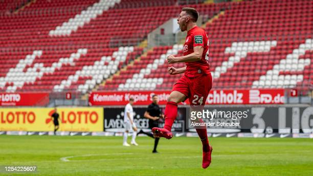 Christian Kuehlwetter of Kaiserslautern celebrates the first goal for his team during the 3. Liga match between 1. FC Kaiserslautern and Bayern...