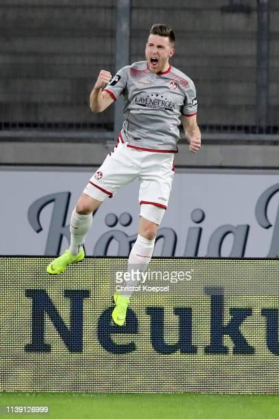 Christian Kuehlwetter of Kaiserslautern celebrates the second goal of Krefelduring the 3 Liga match between KFC Uerdingen 05 and 1 FC Kaiserslautern...