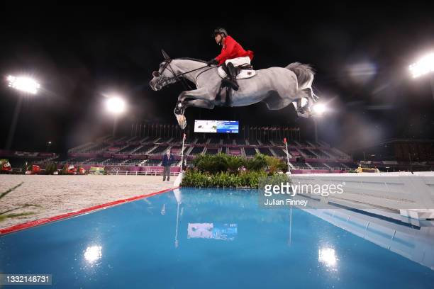 Christian Kukuk of Team Germany riding Mumbai competes during the Jumping Individual Qualifier on day eleven of the Tokyo 2020 Olympic Games at...