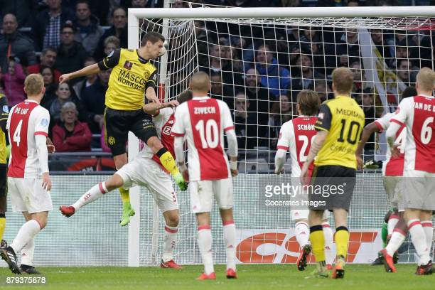 Christian Kum of Roda JC scores the first goal to make it 01 during the Dutch Eredivisie match between Ajax v Roda JC at the Johan Cruijff Arena on...