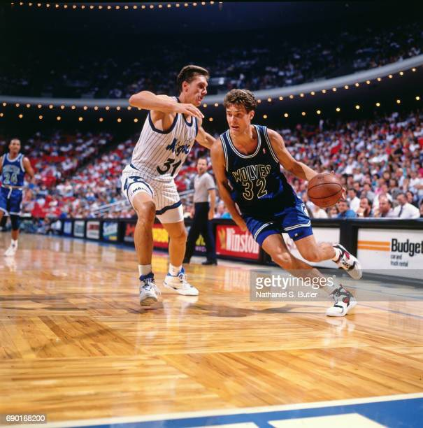Christian Laetner of the Minnesota Timberwolves drives to the basket against the Orlando Magic at the Orlando Arena circa 1993 in Orlando Florida...