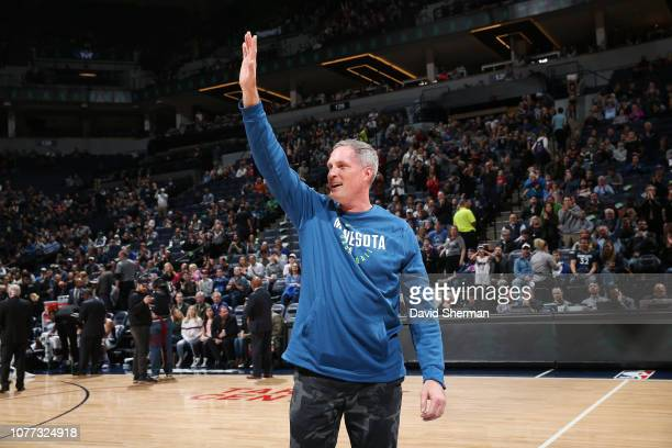 Christian Laettner attends the game between the Minnesota Timberwolves and Orlando Magic on January 4 2019 at Target Center in Minneapolis Minnesota...