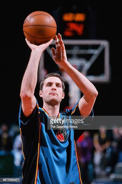 Christian Laettner of the Detroit Pistons warms up prior to the game against the Charlotte Hornets on January 27 2000 at Charlotte Coliseum in...