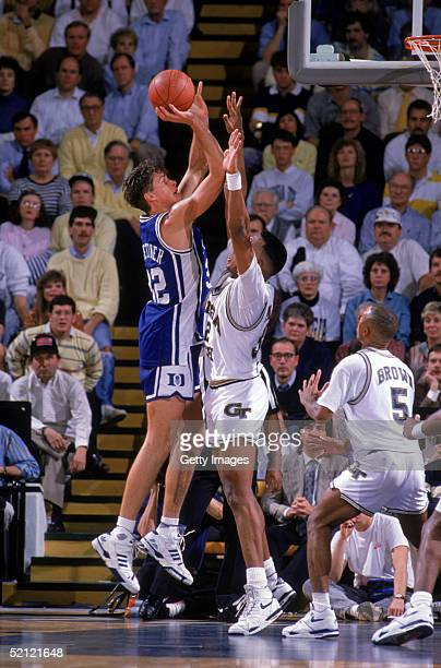 Christian Laettner of the Duke University Blue Devils shoots a jump shot during an NCAA game circa 19891990