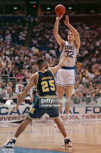 Christian Laettner of the Duke University Blue Devils shoots a jump shot during a game in the NCAA Final Four tournament.