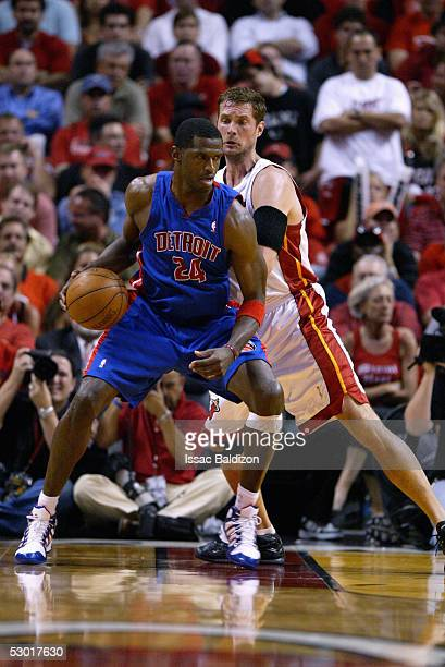 Christian Laettner of the Miami Heat guards Antonio McDyess of the Detroit Pistons in Game two of the Eastern Conference Finals during the 2005 NBA...