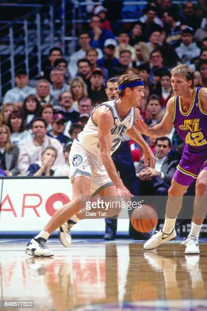 Christian Laettner of the Minnesota Timberwolves dribbles against the Utah Jazz circa 1994 at the Target Center in Minneapolis Minnesota NOTE TO USER...