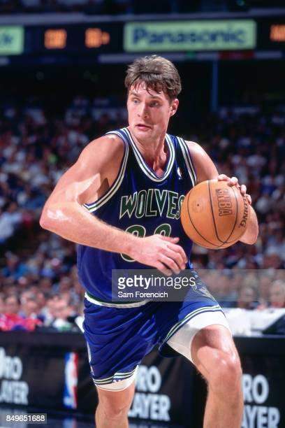 Christian Laettner of the Minnesota Timberwolves drives circa 1996 at Arco Arena in Sacramento California NOTE TO USER User expressly acknowledges...
