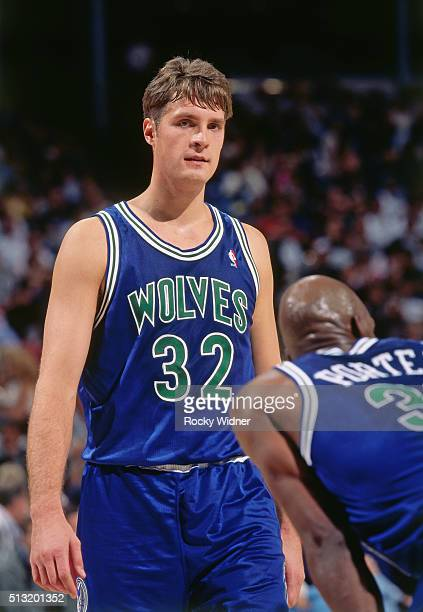 Christian Laettner of the Minnesota Timberwolves looks on against the Sacramento Kings circa 1996 at Arco Arena in Sacramento California NOTE TO USER...