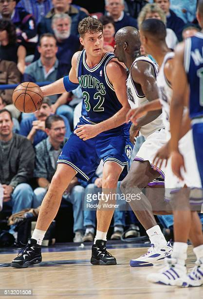 Christian Laettner of the Minnesota Timberwolves posts up against the Sacramento Kings circa 1996 at Arco Arena in Sacramento California NOTE TO USER...