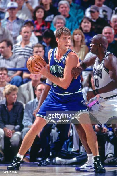 Christian Laettner of the Minnesota Timberwolves posts up circa 1996 at Arco Arena in Sacramento California NOTE TO USER User expressly acknowledges...