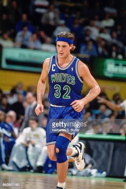 Christian Laettner of the Minnesota Timberwolves runs circa 1994 at Boston Garden in Boston Massachusetts NOTE TO USER User expressly acknowledges...