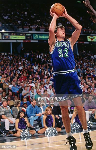 Christian Laettner of the Minnesota Timberwolves shoots against the Sacramento Kings circa 1996 at Arco Arena in Sacramento California NOTE TO USER...