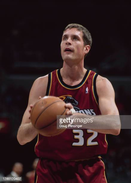 Christian Laettner, Power Forward for the Detroit Pistons prepares to make a free throw during the NBA Atlantic Division basketball game against the...