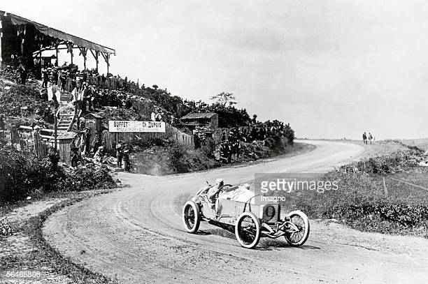 Christian Lautenschlager drives the Mercedes GP 18/100 to victory during the Grand Prix de l'Automobile Club de France on 4th July 1914 on the public...