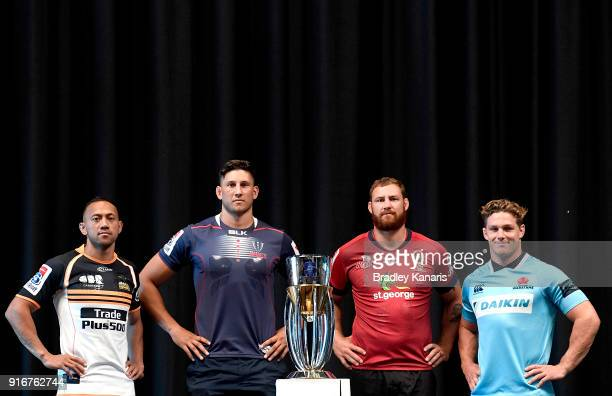 Christian Lealiifano of the Brumbies Adam Coleman of the Rebels Scott Higginbotham of the Reds and Michael Hooper of the Waratahs pose for a photo...