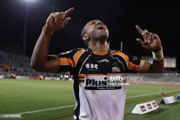 Christian Leali'ifano of the Brumbies celebrates towards his family following victory in the Super Rugby Quarter Final match between the Brumbies and...