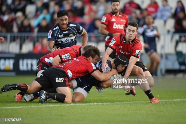 Christian Lealiifano of the Brumbies dives over to score a try during the round 8 Super Rugby match between the Crusaders and Brumbies at...
