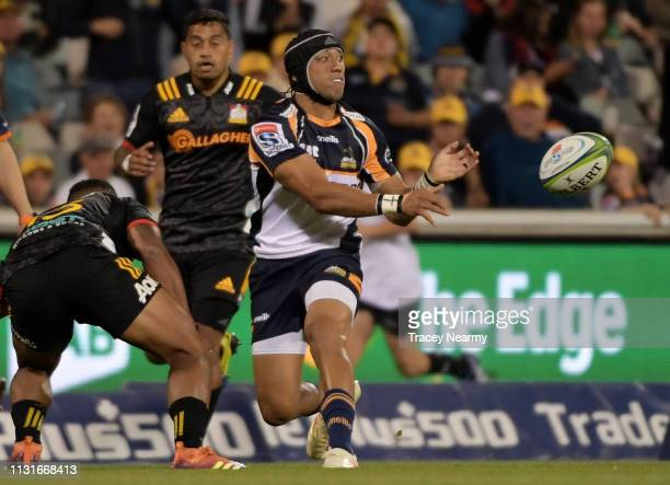 Christian Lealiifano of the Brumbies kicks during the Brumbies and Chiefs Super Rugby Round 2 match at GIO Stadium on February 23 2019 in Canberra...