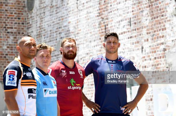 Christian Lealiifano of the Brumbies Michael Hooper of the Waratahs Scott Higginbotham of the Reds and Adam Coleman of the Rebels pose for a photo...