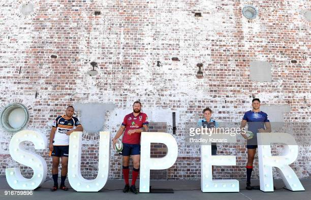 Christian Lealiifano of the Brumbies Scott Higginbotham of the Reds Michael Hooper of the Waratahs and Adam Coleman of the Rebels pose for a photo...