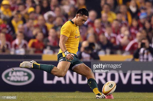 Christian Leali'ifano of the Wallabies kicks the match winning conversion after a try by Adam Ashley-Cooper had scored a try during game two of the...
