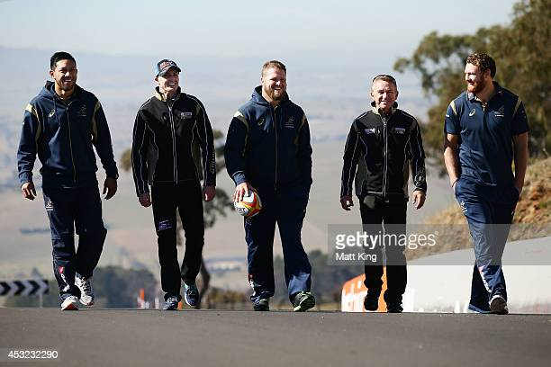 Christian Leali'ifano of the Wallabies V8 Supercar driver Mark Winterbottom James Slipper of the Wallabies V8 Supercar driver Russell Ingall and...