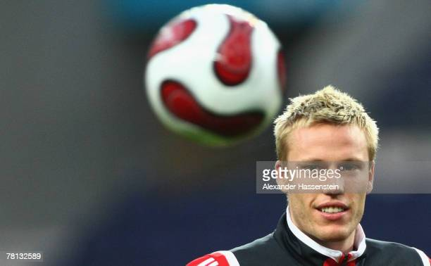 Christian Lell of Munich looks on during a training session at the Estadio Do Dragao on November 28 2007 in Porto Portugal The UEFA Cup match between...