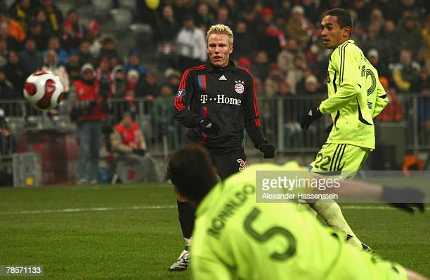Christian Lell of Munich scores the 5th goal during the UEFA Cup Group F match between Bayern Munich and Aris Saloniki at the Allianz Arena on...