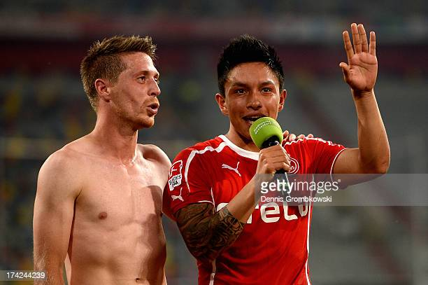 Christian Leonel Ramirez of Fortuna Duesseldorf celebrates after the Second Bundesliga match between Fortuna Duesseldorf and Energie Cottbus at...
