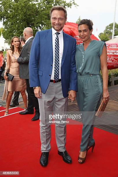 Christian Lindner and wife Dagmar RosenfeldLindner attend the FEI European Championship 2015 media night on August 11 2015 in Aachen Germany
