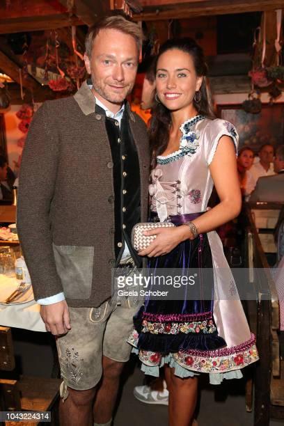 Christian Lindner FDP and his girlfriend Franca Lehfeldt during the Oktoberfest 2018 at Kaeferschaenke tent Theresienwiese on September 29 2018 in...