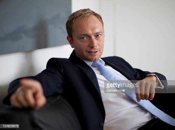 Christian Lindner General Secretary of the German Free Democrats political party gestures during an interview in his office on September 13 2011 in...