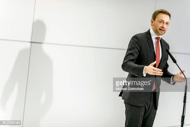 Christian Lindner head of FDP party attends the meeting of party faction on January 30 2018 in Berlin Germany