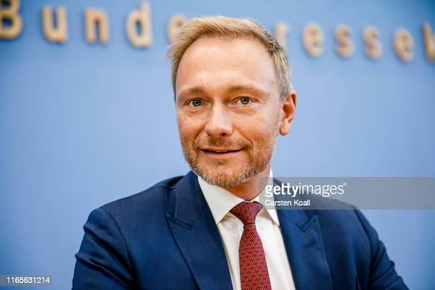 Christian Lindner, head of the Free Democratic Party arrives for a press conference the day after elections in the eastern German states of...