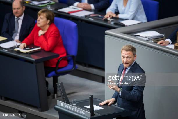Christian Lindner head of the Free Democratic Party speaks during the meeting of the German Bundestag on March 21 2019 in Berlin Germany