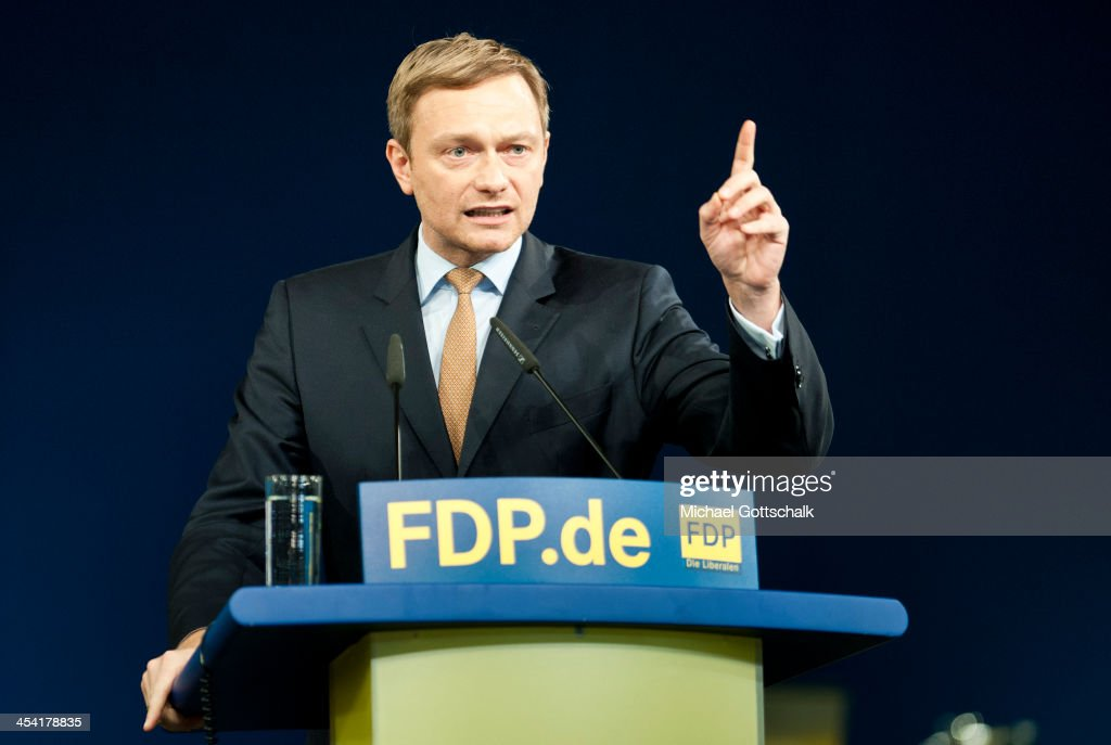 Christian Lindner, head of the German Free Democratic Party (Freie Demokratische Partei, or FDP) in North Rhine-Westphalia, speaks during an FDP federal congress on December 7, 2013 in Berlin, Germany. The pro-business FDP failed to make it into the Bundestag, or German parliament, in general elections in September, having only secured 4.7 percent of the vote, the worst result in the party's history.