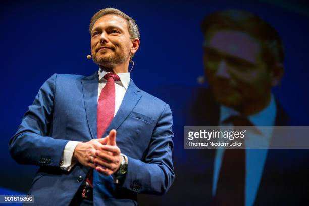 Christian Lindner head of the German Free Democratic Party talks during the traditional Epiphany meeting of the German Free Democratic Party at the...