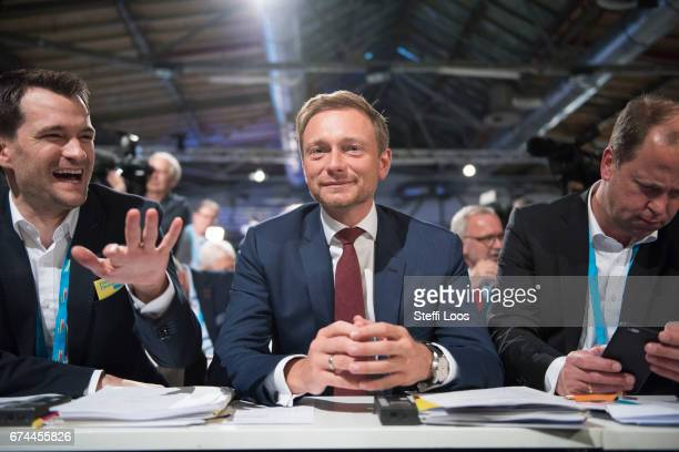 Christian Lindner head of the German Free Democratic Party waits at the Federal Congress of FDP Political Party on April 28 2017 in Berlin Germany...