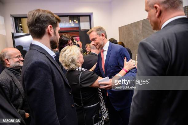 Christian Lindner lead candidate of the Free Democratic Party responds to supporters after initial results give the party a 4th place finish with...