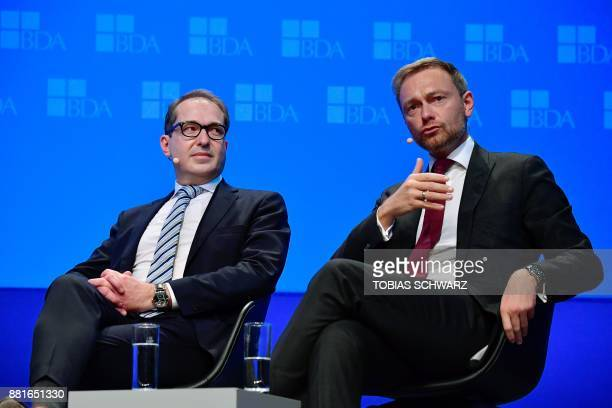Christian Lindner leader of Germany's free democrat FDP party and German Transport Minister Alexander Dobrindt of the conservative Christian Social...