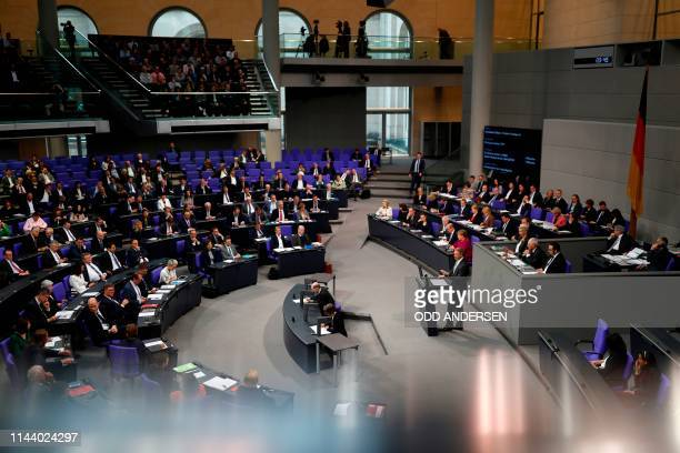 Christian Lindner leader of the free democratic FDP party speaks during a debate at the Bundestag the lower house of parliament on the occasion of...