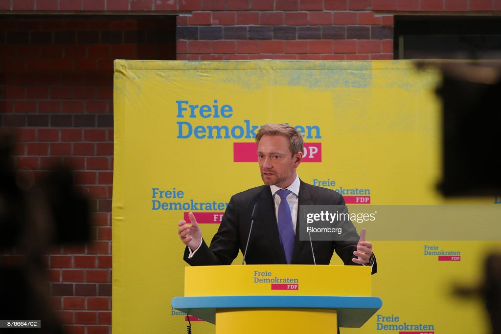 Christian Lindner, leader of the Free Democratic Party (FDP), gestures while speaking during a news conference at the FDP headquarters in Berlin, Germany, on Monday, Nov. 20, 2017. A month of coalition talks collapsed in dramatic fashion just before midnight Sunday as disputes among a grab-bag of disparate parties over migration and other polices led the Free Democrats to walk out. Photographer: Krisztian Bocsi/Bloomberg via Getty Images