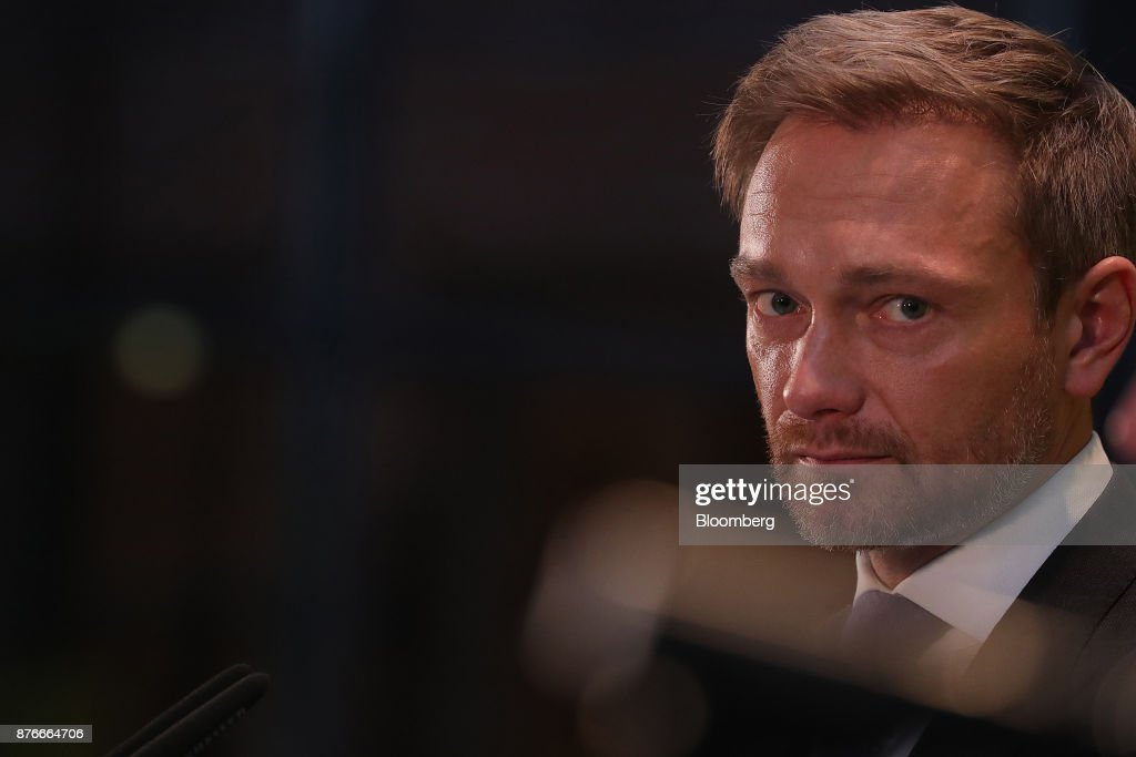 Christian Lindner, leader of the Free Democratic Party (FDP), looks on during a news conference at the FDP headquarters in Berlin, Germany, on Monday, Nov. 20, 2017. A month of coalition talks collapsed in dramatic fashion just before midnight Sunday as disputes among a grab-bag of disparate parties over migration and other polices led the Free Democrats to walk out. Photographer: Krisztian Bocsi/Bloomberg via Getty Images